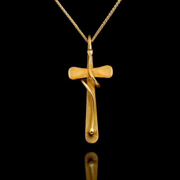 Χειροποίητος σταυρός σε ματ χρυσό 22Κ - nessis Κοσμηματοπωλείο