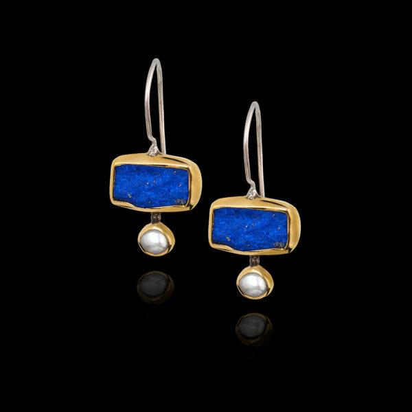 Χειροποίητα σκουλαρίκια σε χρυσό 18Κ και ασήμι. Lapis Lazuli και μαργαριτάρια
