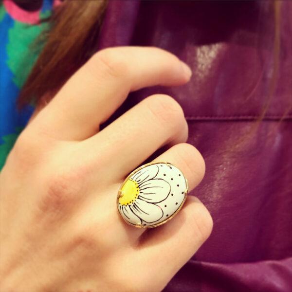 Χειροποίητο Δαχτυλίδι σε Ασήμι και Χρυσό με Πορσελάνη