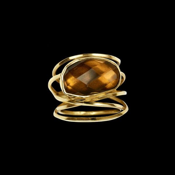 Χειροποίητο δαχτυλίδι σε χρυσό με smoky quartz