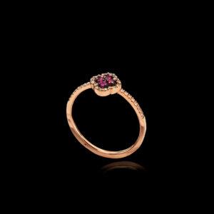 Δαχτυλίδι Ροζ Χρυσό με Ρουμπίνια και Διαμάντια