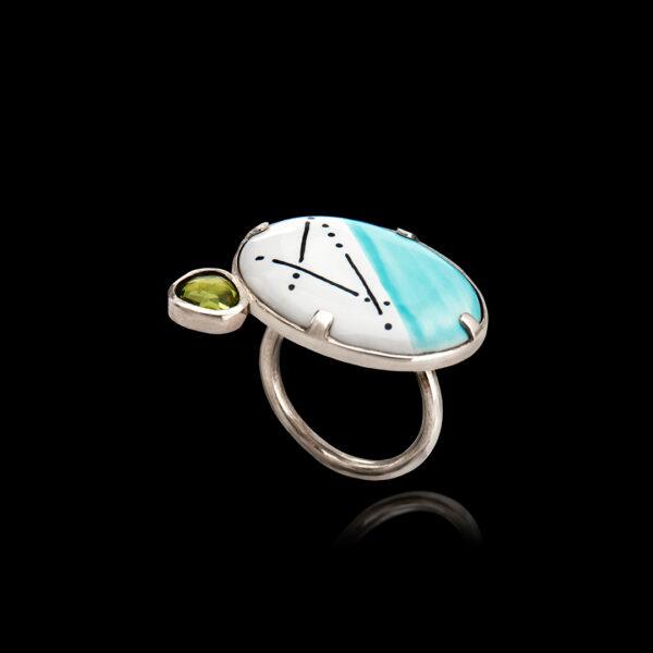 Χειροποίητο Ασημένιο Δαχτυλίδι με Πορσελάνη