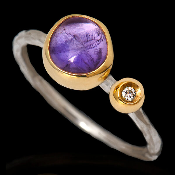 Χειροποίητο Δαχτυλίδι σε Ασήμι και Χρυσό με Πολύτιμες Πέτρες