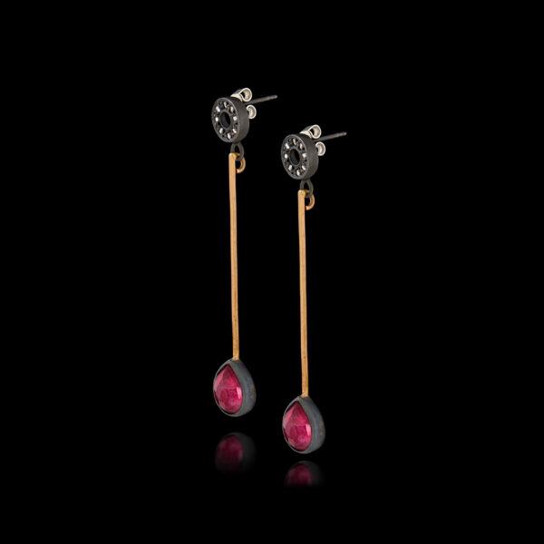 Χειροποίητα σκουλαρίκια σε ασήμι και χρυσό με ρουμπίνια και διαμάντια