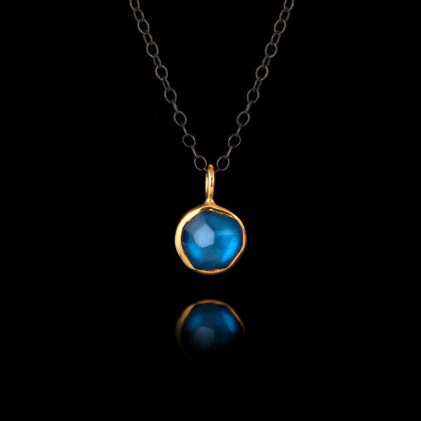 Μενταγιόν με μπλε τοπάζ σε Ασήμι και Χρυσό