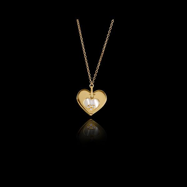 Μενταγιόν καρδιά σε χρυσό με φίλτισι