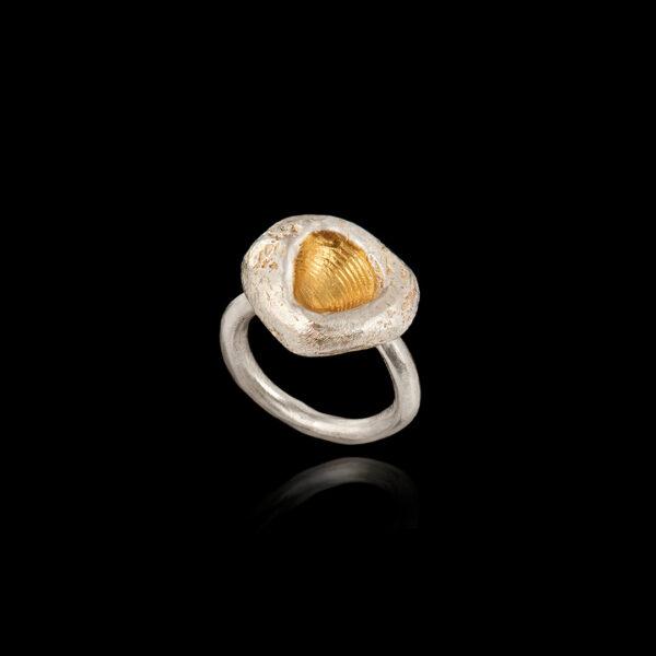 Δαχτυλίδι Απολίθωμα σε Ασήμι και Χρυσό