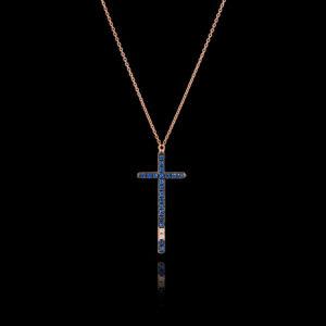 Σταυρός σε Ροζ Χρυσό με Διαμάντια