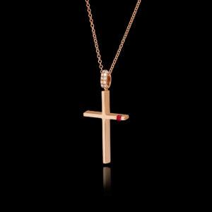 Σταυρός σε Ροζ Χρυσό με Ρουμπίνι