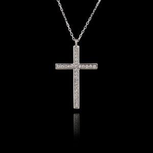 Σταυρός σε Λευκόχρυσο με Διαμάντια
