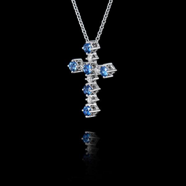 Σταυρός σε Λευκόχρυσο με Ζαφείρια και Διαμάντια