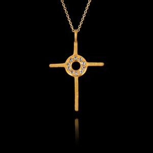 Χειροποίητος Σταυρός σε Χρυσό με Διαμάντια