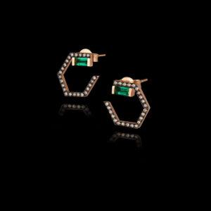 Σκουλαρίκια σε Ροζ Χρυσό με Σμαράγδια και Διαμάντια - SK115N