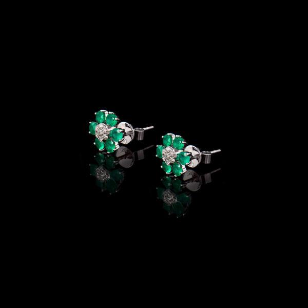 Σκουλαρίκια σε Λευκόχρυσο με Σμαράγδια και Διαμάντια - SK117N