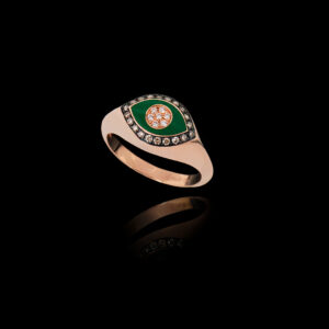 Δαχτυλίδι σε Ροζ Χρυσό με Σμάλτο και Διαμάντια – DA118N