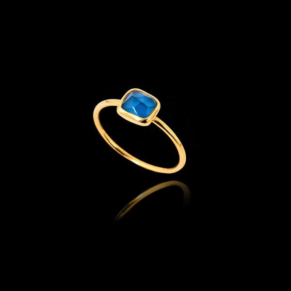 Χειροποίητο Δαχτυλίδι σε Χρυσό με Μπλε Τοπάζ – DA119N