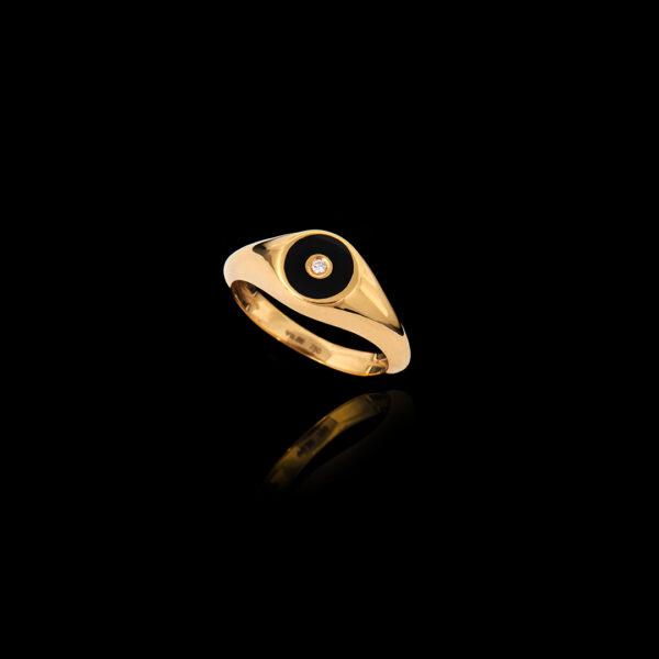 Δαχτυλίδι Σεβαλιέ σε Χρυσό με Σμάλτο και Διαμάντι – DA120N