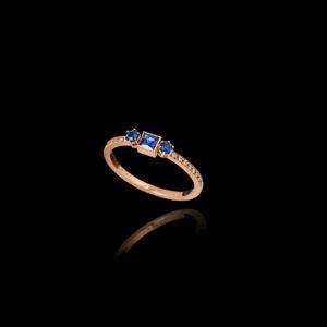 Δαχτυλίδι σε Ροζ Χρυσό με Ζαφείρια και Διαμάντια – DA123N