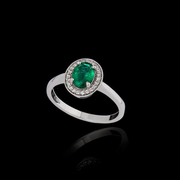 Δαχτυλίδι σε Λευκόχρυσο με Σμαράγδι και Διαμάντια – DA124N