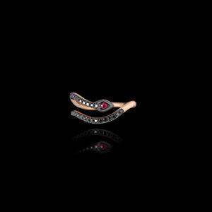 Δαχτυλίδι Σεβαλιέ σε Ροζ Χρυσό με Μαύρα Διαμάντια - DA126N