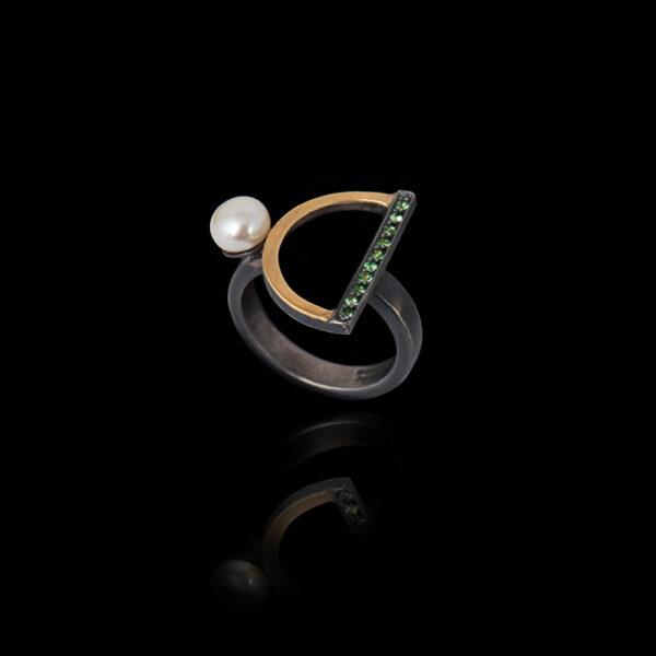 Χειροποίητο Δαχτυλίδι σε Ασήμι και Χρυσό με Μαργαριτάρι - DA127N