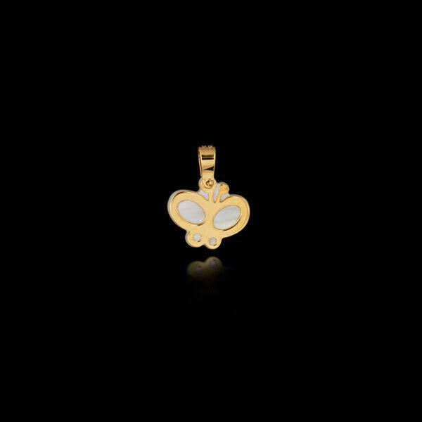 Μενταγιόν Πεταλούδα σε Χρυσό με Φίλντισι - ME132N