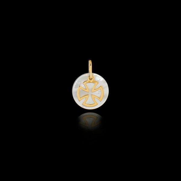 Μενταγιόν Σταυρουδάκι σε Χρυσό με Φίλντισι - ME135N