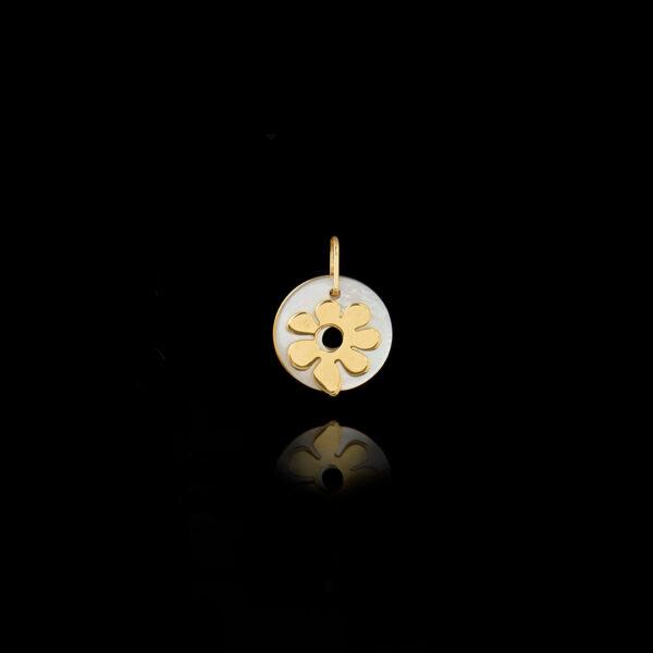 Μενταγιόν Λουλούδι σε Χρυσό με Φίλντισι - ME137N