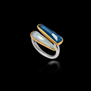 Χειροποίητο Δαχτυλίδι σε Ασήμι και Χρυσό με Μπλε Τοπάζ και Ακουαμαρίνα- DA164