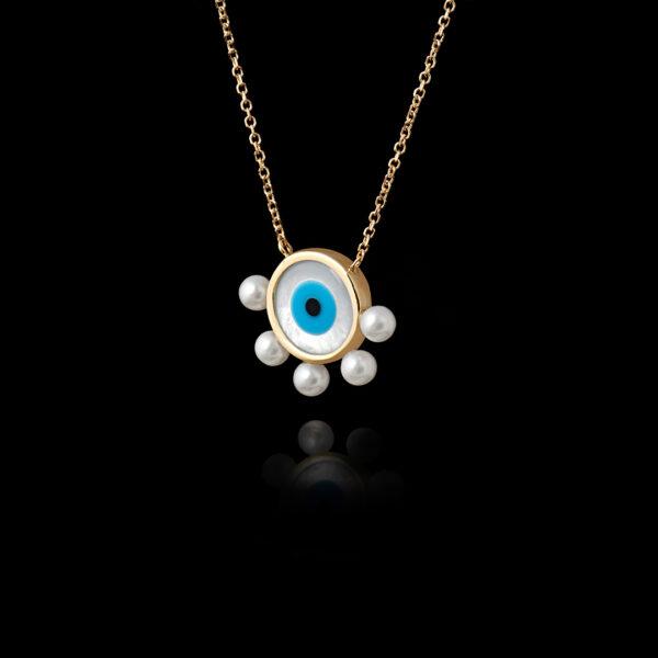 Μενταγιόν Μάτι σε Χρυσό με Μαργαριτάρια - ME170N